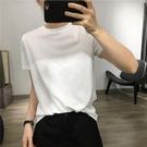 涼感衣 輕薄涼感冰棉短袖T恤女韓國純色簡約基礎顯瘦圓領套頭百搭上衣夏-Ballet朵朵