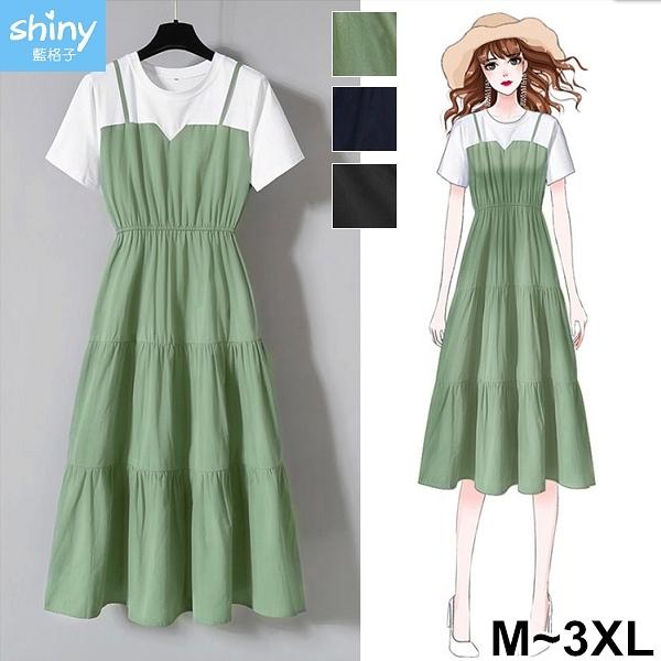 【V3300】shiny藍格子-韓系恬靜.吊帶假兩件拼接收腰顯瘦短袖洋裝