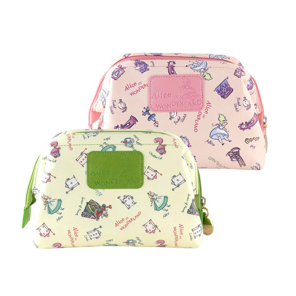 【Disney】迪士尼愛麗絲夢遊仙境.妙妙貓皮革大開口立體化妝包/萬用包/收納包/盥洗包/袋中袋