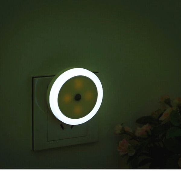 【圓形光控燈】省電節能LED感應光源燈圓型感應燈小夜燈壁燈走廊燈廁所燈插電式床頭燈夜光燈