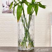 現代簡約富貴竹花瓶擺件轉運客廳玻璃插花透明特大號水培家用落地  樂芙美鞋