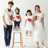 韓版笑口常開字母印花短袖上衣親子裝(大人)