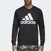adidas 長袖上衣 Sport Ess Biglogo Crew 黑 白 大LOGO 大學T 男款 【PUMP306】 CD6275