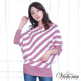 Victoria 斜條長版長袖線衫上衣-女-淺紫粉條/藍白條-V65089