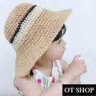 [現貨]兒童帽子 紙草編織帽 遮陽帽 海灘帽 防曬 帽檐軟鐵絲 防風繩 帽圍可調 親子穿搭 C5020 OT SHOP
