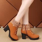 馬丁靴 秋冬新款韓版高跟女靴百搭短筒靴2021粗跟網紅馬丁靴單靴女鞋棉靴 美物
