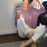 V領條紋針織衫寬鬆上衣T恤  韓版【29-14-8155-18】ibella 艾貝拉