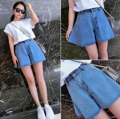 EASON SHOP(GU5218)復古寬鬆高腰短寬褲女半身褲裙裙褲牛仔短褲A字傘裙水洗淺藍
