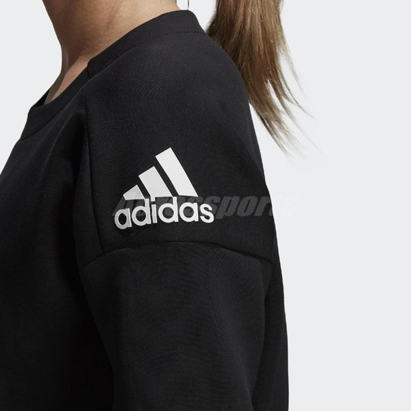 adidas 大學T Stadium Sweatshirt 黑 白 基本款 長袖上衣 女款 【ACS】 DN9054