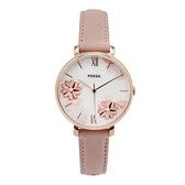 【Fossil】JACQUELINE花漾魅力真皮時尚腕錶-花樣粉/ES4671/台灣總代理公司貨享兩年保固
