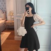 遮肚顯瘦黑色赫本風連身裙女夏季雪紡泡泡袖一字肩氣質心機小黑裙 雙11提前購