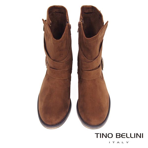 ★零碼出清★Tino Bellini率性不羈雙釦帶中筒工程靴_棕  A69066 2016AW