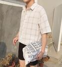 FINDSENSE品牌 時尚潮流 男 韓國 暗格紋 短袖襯衫 短袖T恤上衣 翻領