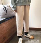 秋裝女裝韓版寬鬆高腰燈芯絨學生哈倫褲直筒褲休閒褲九分褲長褲潮  夢想生活家