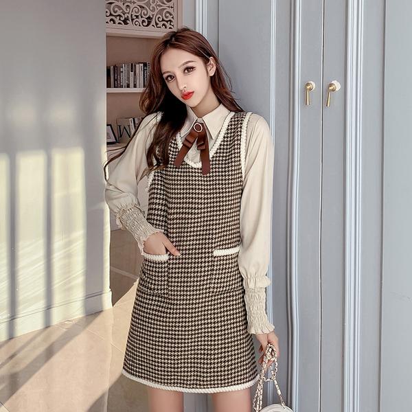 絕版出清 韓系名媛蝴蝶結襯衫千鳥格背心裙套裝長袖裙裝