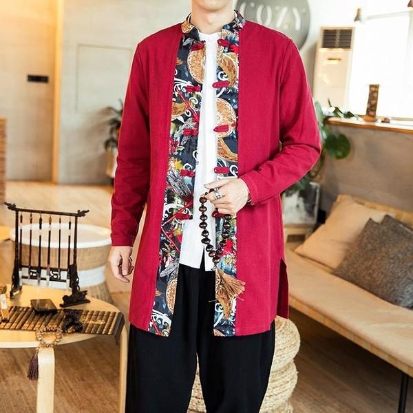 促銷 秋季中式復古盤扣拼色長袖襯衫中長款唐裝民族風上衣居士禪修服男