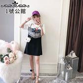 中大尺碼.中長款.連身裙 .夏裝印花修身蕾絲吊帶假兩件連身裙 XL-5XL  1號公館