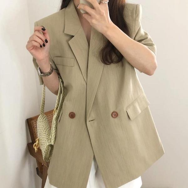 韓國CHIC夏季法式簡約西裝領兩粒扣寬松純色百搭休閑開衫短外套女
