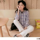 《AB10922-》清新格紋長袖襯衫 OB嚴選