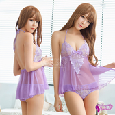 情趣 性感 內衣 酒店 夜店 ★ 粉紫柔紗綁脖美背二件式性感睡衣 ★┌NA19020052