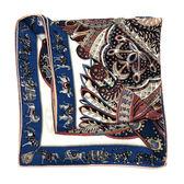 【台中米蘭站】全新品 HERMES 藍框部落風格喀什米爾混絲大方巾 (140X140-243070S)