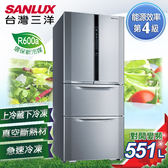 【SANLUX台灣三洋】551L直流變頻對開冰箱。銀色  SR-B551DVF