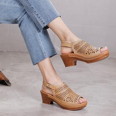魚嘴坡跟涼鞋 真皮手工女鞋 鏤空搭扣涼鞋夢想家-標準碼-0409