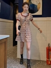 方領洋裝 2021早春夏新款法式初戀氣質復古連身裙子設計感小眾chic溫柔少女 晶彩 99免運