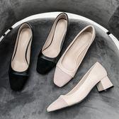 中跟鞋 歐美方頭粗跟百搭淺口單鞋休閒中跟OL上班鞋 巴黎春天