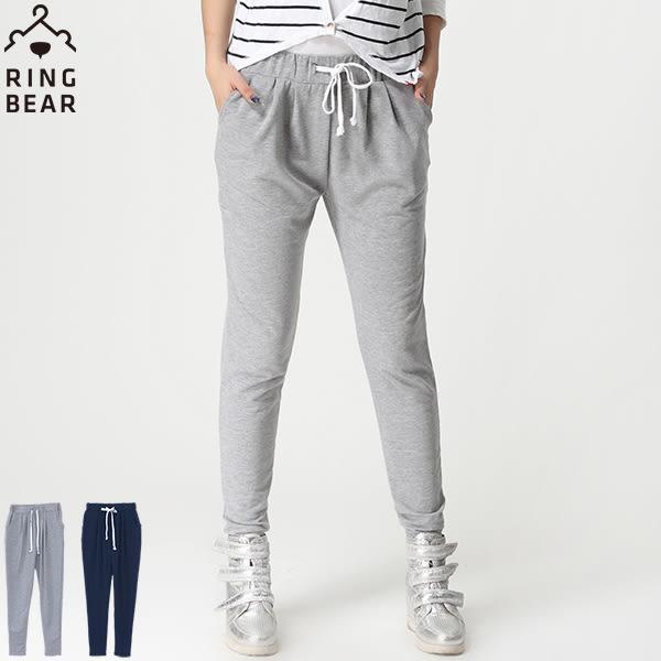 棉褲--輕鬆休閒運動女孩系後臀星星印圖雙口袋修身鬆緊棉褲(灰.藍XL-4L)-P124眼圈熊中大尺碼