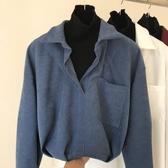 長袖襯衫   秋冬襯衫拼接針織衫假兩件長袖v領慵懶襯衣ins風套頭上衣 女促銷好物