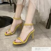 水晶跟高跟涼鞋女夏季2019新款韓版網紅性感方頭鞋一字式扣帶細跟 韓慕精品