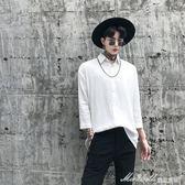 襯衫男 暗黑發型師男士寬鬆棉麻七分袖襯衫潮男青年中長款純色襯衣潮   蜜拉貝爾
