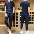 夏季套裝男潮流帥氣休閒T恤冰絲男裝一套搭配2020棉麻新款短袖 韓慕精品