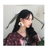 白色飄帶蝴蝶結絲帶耳環女韓國耳飾耳墜