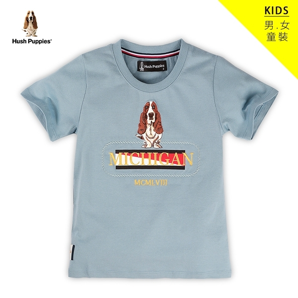 Hush Puppies T恤 童裝雙色植絨刺繡狗短袖T恤