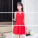 喜慶宴會相親約會水珠鑽領雪紡無袖洋裝 (紅) 11950075