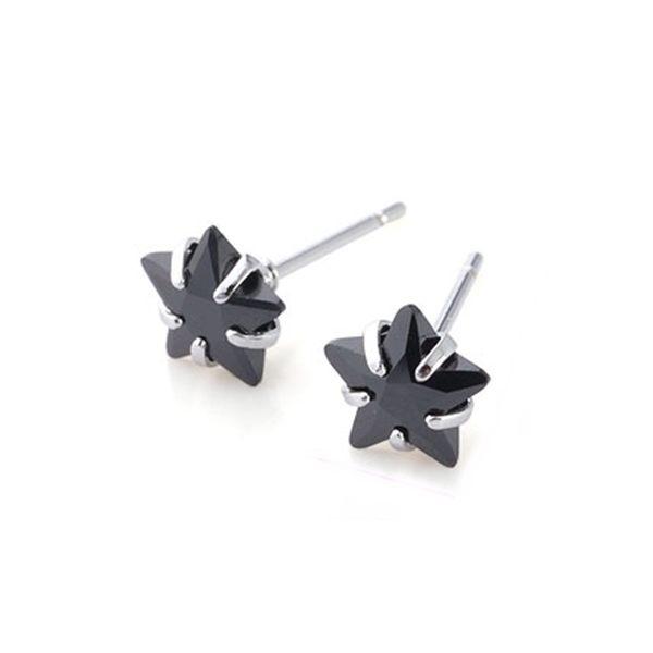 925純銀 迷你小五角星星 黑瑪瑙 耳環耳釘針-銀 防抗過敏