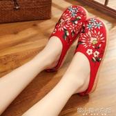 春夏新款女鞋布鞋民族風繡花鞋子平底媽媽亞麻大碼拖鞋 韓小姐的衣櫥