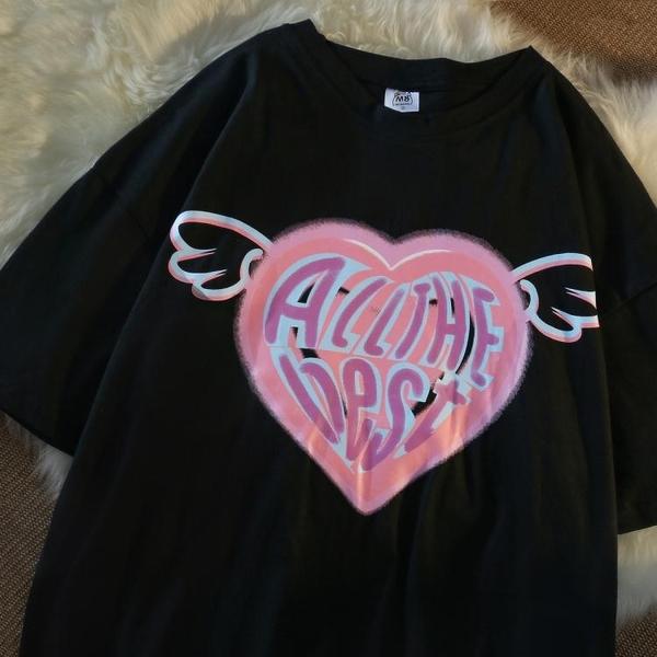 設計感小眾愛心T恤女夏季情侶寬鬆oversize原宿風炸街短袖上衣潮 「快速出貨」青木鋪子