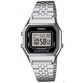 【CASIO】 方格普普風不鏽鋼電子錶-黑框(LA-680WA-1)