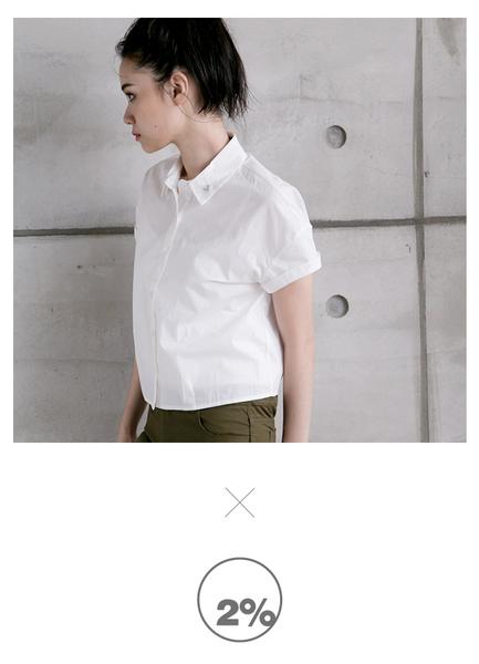 【2%】2% twopercent MISS CALL短版造型襯衫_白