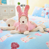Pure One 超保暖搖粒絨 - 迷戀兔 - 藍 [獨家設計] @ 雙人超厚兩用被套床包組 @台灣製 @SGS檢驗合格