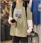 男女長袖連帽T恤服假兩件港風寬鬆中性情侶裝ins潮流新款帥氣 【快速出貨】