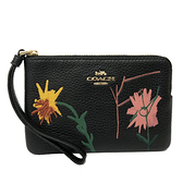 【COACH】X Jean-Michel Basquiat聯名花卉手拿零錢包(花卉黑)
