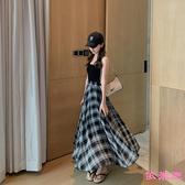 長裙 黑白格子半身裙女夏2020中長款高腰超大擺雪紡垂感半身裙