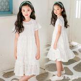 女童蕾絲鏤空短袖洋裝 2019夏季款棉公主裙中大童白色園領子 BT1573『寶貝兒童裝』