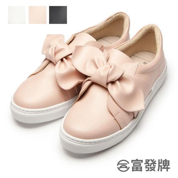 【富發牌】甜美扭蝶結懶人鞋-白/粉  1BR42