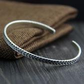 純銀手環(泰銀)-樹葉雕花生日母親節禮物女手鐲73gg47【時尚巴黎】