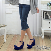 Victoria 雙色交叉鑽中腰七分褲-中藍-V5509175(領劵再折)